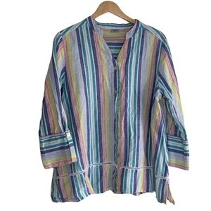 Symple NYC Striped Linen Blend Button Up Blouse